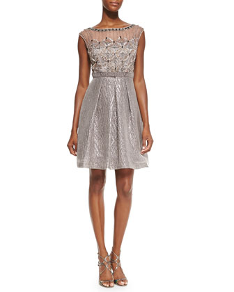 Cap-Sleeve Cocktail Dress W/ Embellished Bodice