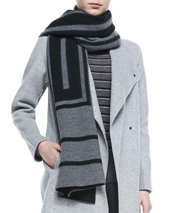 Cashmere Jacquard Scarf, Sweater-Back Drape-Neck Coat, Striped Crewneck ...