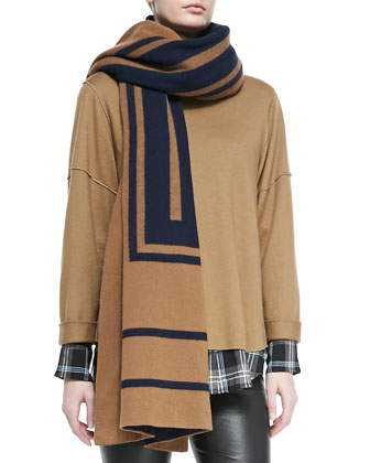 Leather-Trim Plaid Shirt, Cashmere Jacquard Scarf, Wool Rolled-Sleeve Tee & ...
