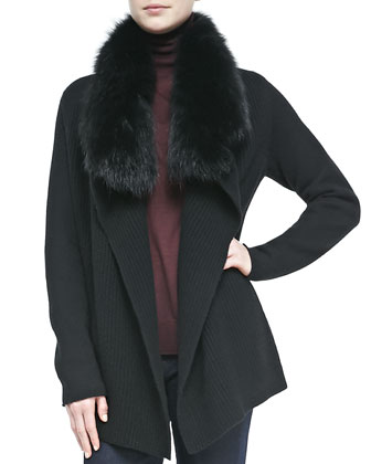 Fur-Collar Knit Drape Cardigan