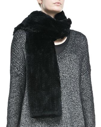 Rabbit Fur Scarf, Metallic V-Neck Knit Sweater & Smooth Leather Leggings