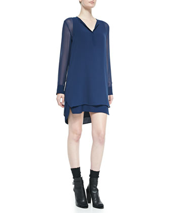 Long-Sleeve Double-Layer Shirttail Dress, Officer