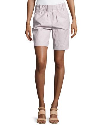 Smocked-Waist Lambskin Leather Shorts, Freesia