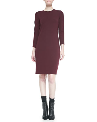 3/4-Sleeve Boucle Sheath Dress, Shiraz