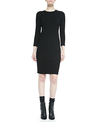 3/4-Sleeve Boucle Sheath Dress, Black