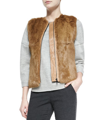 Quilted Leather/Fur Zip Vest, Rolled-Sleeve Slub-Knit Top & Ribbed-Cuff ...