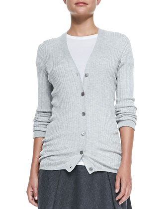 Skinny-Rib Cardigan, Basic Tee & Pleated Flared Wool Skirt