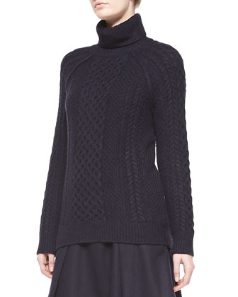 Cable Knit Turtleneck Sweater & Pleated Flared Wool Skirt