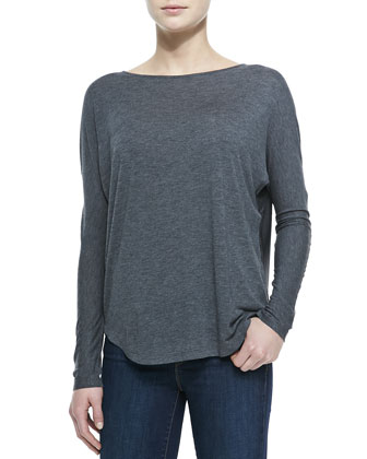 Long-Sleeve Boat-Neck Combo Tee, Charcoal