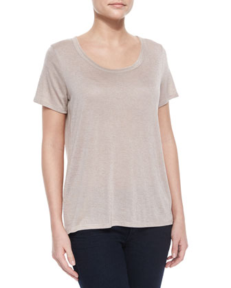 Short-Sleeve Scoop-Neck Tee, Heather Ghost