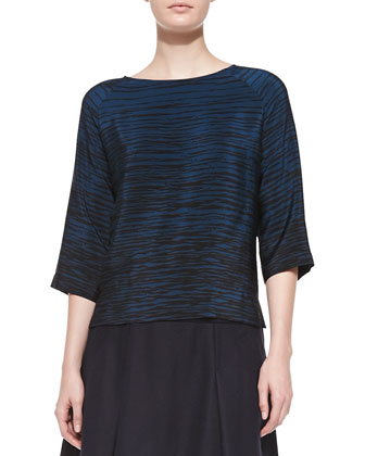 Silk Striped Boat-Neck Blouse & Pleated Flared Wool Skirt