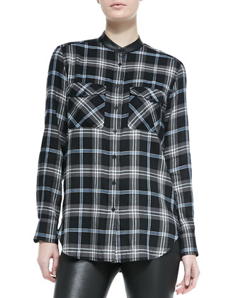 Leather-Trim Plaid Shirt
