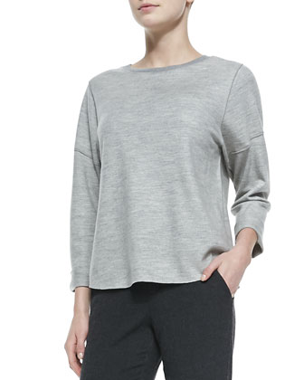 Rolled-Sleeve Slub-Knit Top