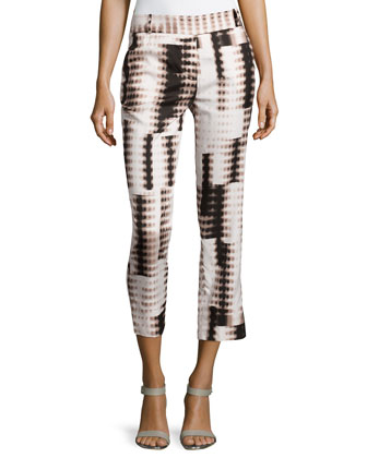 Fading Dots-Print Silk-Blend Pants