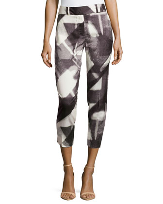 Slim Printed Ankle Pants, Lead Spec Reflect