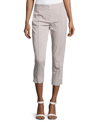 Creased-Front Skinny Ankle Pants, Flint