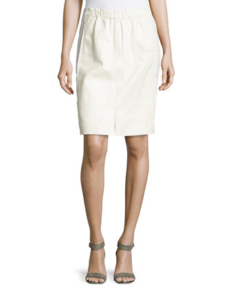 Leather Combo Pencil Skirt, Cream
