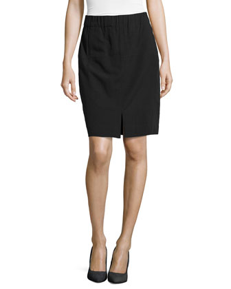 Vented-Center Pencil Skirt, Black