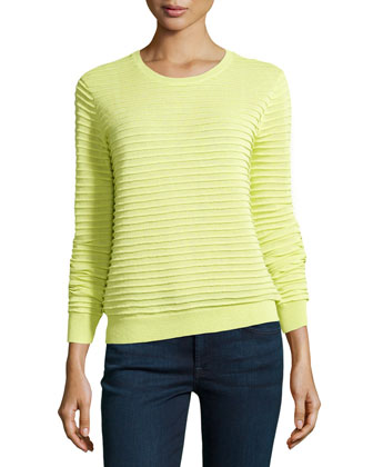 Textured-Stripe Knit Sweater, Lemonade