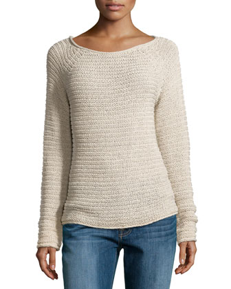 Textured Knit Raglan Sweater