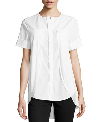 Poplin Knit-Overlay Shirt, White