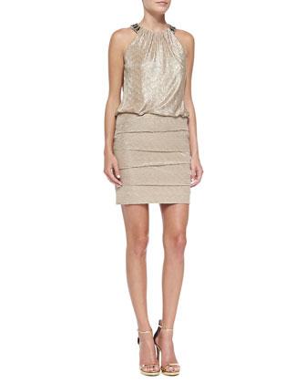 Embellished-Neck Dress w/ Blouson Top