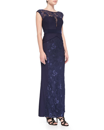 Wavy Ribbed-Bodice Gown w/ Lace Detail