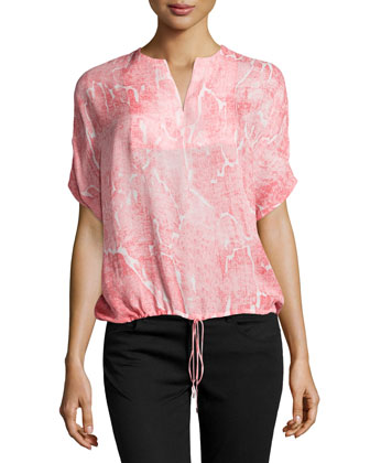Oversized Printed Drawstring Top, Guava