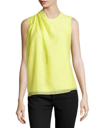 Pleated-Shoulder Sleeveless Blouse, Lemonade