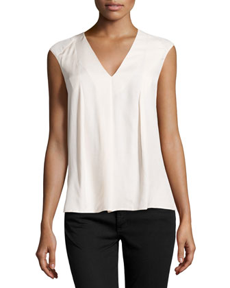 Sleeveless V-Neck Draped Top, Bone