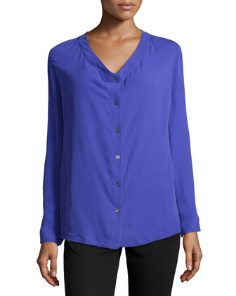 Slit-Shoulder V-Neck Silk Blouse, Violet