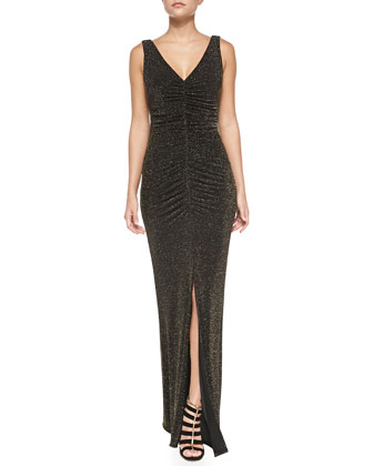 Sleeveless V-Neck Shirred Metallic Gown