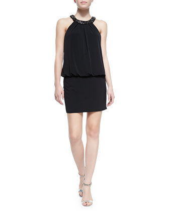 Beaded-Neck Halter Blouson Cocktail Dress, Black