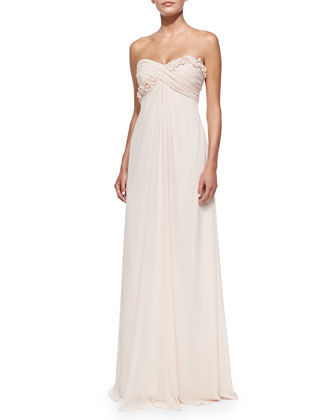 Draped Ruched & Ruffled-Bodice Gown, Blush