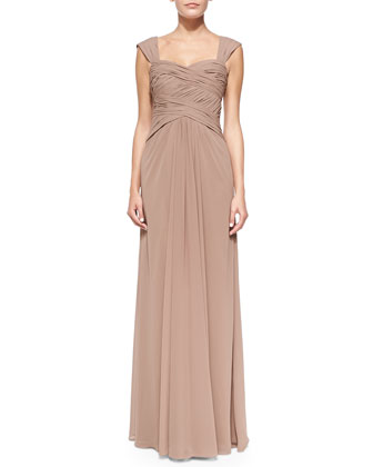 Sleeveless Ruched Bodice Gown, Latte