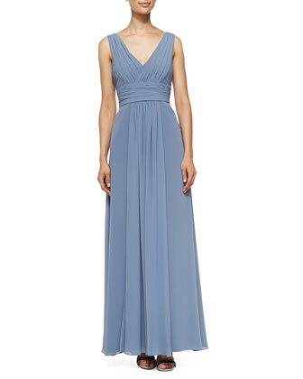 Sleeveless Deep V-Neck Gown, French Blue