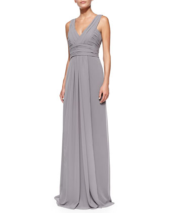 Sleeveless Deep V-Neck Gown, Slate