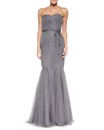 Strapless Ruched Tulle Gown, Slate