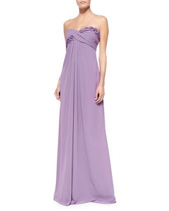 Draped Ruched & Ruffled-Bodice Gown, Violet