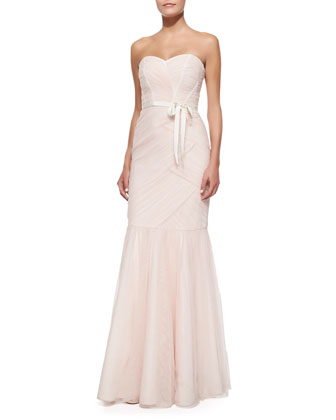 Strapless Ruched Tulle Gown, Blush