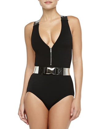 Belted Metallic-Strap Maillot, Black