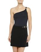 Belted Faux-Wrap Swim Skirt, Black