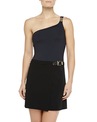 Belted Faux-Wrap Swim Skirt, Black