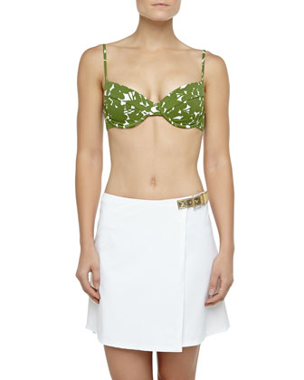 Belted Faux-Wrap Swim Skirt, Optic White