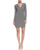 Reina Long-Sleeve Chain-Link-Print Dress