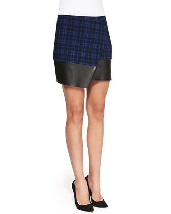 Self Esteem Plaid/Faux-Leather Skirt