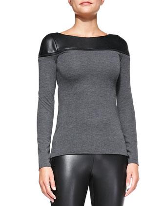 Slub/Faux Leather Zip Top