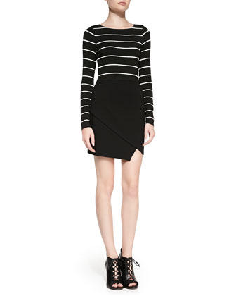 Long-Sleeve Combo Dress w/ Scissor-Hem