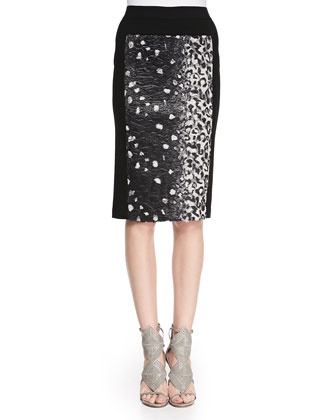 Ines Printed/Solid Pencil Skirt
