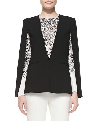 Upas Suiting Cape, Agda Long-Sleeve Printed Top & Derrick Straight-Leg ...